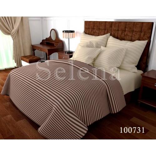 """Комплект постельного белья """"Stripe коричнево-ванильный"""" семейный 100731-050"""
