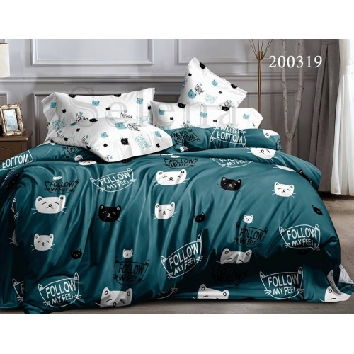 """Комплект постельного белья """"Мурчики green"""" двуспальный 200319-020"""